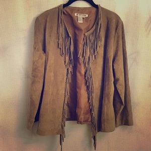 """Jackets & Blazers - Tan Leather Buckskin Jacket w/4"""" Fringe."""
